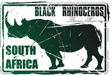 national parks: The Vector image of Black rhinoceros stamp