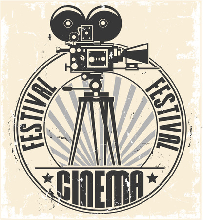 The vector image of a Cinema festival stamp 일러스트