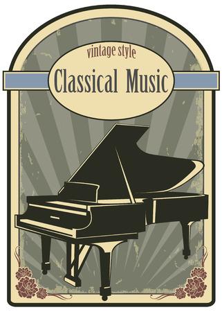 piano de cola: La imagen del vector de la etiqueta de la música clásica