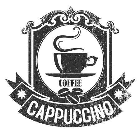 The vector image of Rubber stamp of brown color with a cup of coffee and grains
