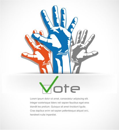 volunteer: The vector image of Colorful hands raised up the vote. vector illustration
