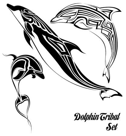 De vector afbeelding van dolfijn tribale set