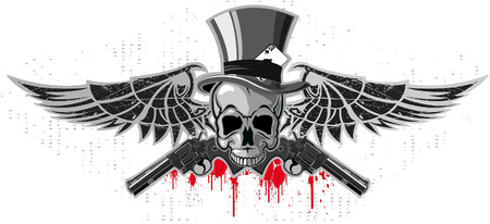 terribly: The vector image of Emblem of a skull with pistols