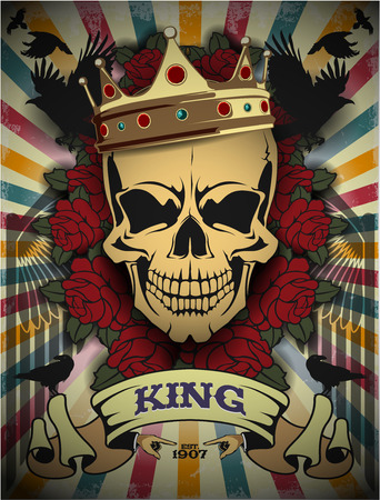 The vector image of  Creative picture of a skull in a retro style 일러스트