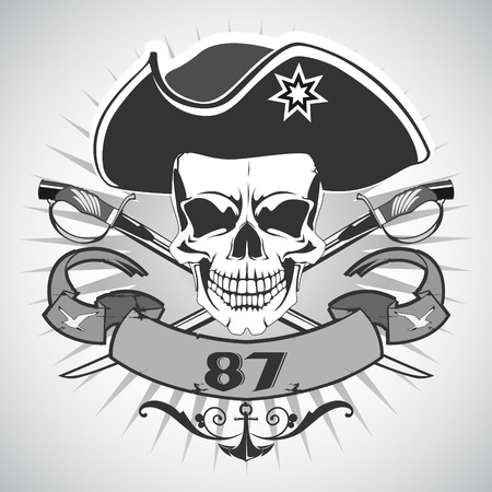 pirate: The vector image of  Skull pirate. Vector.