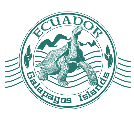 The vector image of Galapagos islands stamp