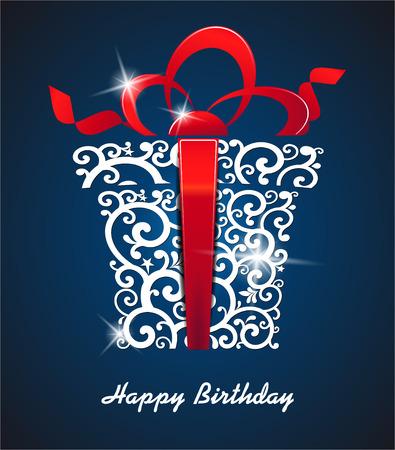 La imagen del vector de la tarjeta de felicitación del feliz cumpleaños. con caja de regalo y el lugar para el texto. vector