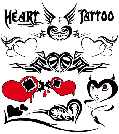 curly tail: The vector image of HEART TATTOO Illustration