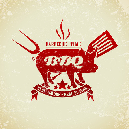 bbq: The vector image of Vintage BBQ Grill Party Illustration