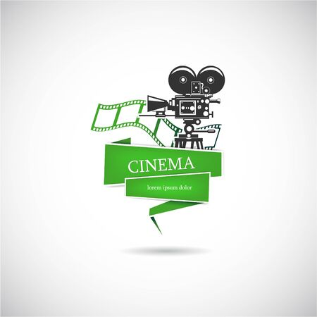 The vector image of Label with a film camera for the movie. Vector.