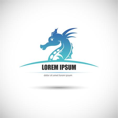 caballo de mar: La imagen del vector de la etiqueta con un caballito de mar. Vector.