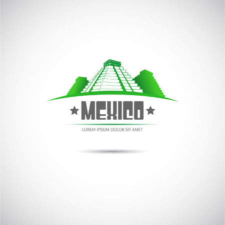 mexico city: The vector image of Label with Mayan pyramid. Mexico.