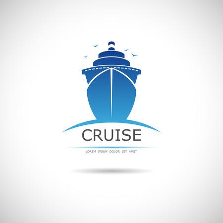 La imagen del vector de la etiqueta con el crucero marítimo