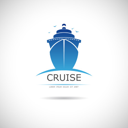 The vector image of Label with sea cruise liner Фото со стока - 38564953