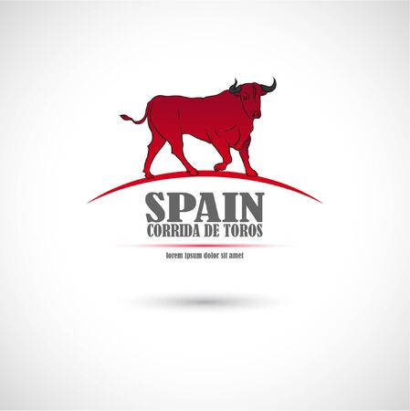 The vector image of Label with the bull. Spain bullfight. Illustration
