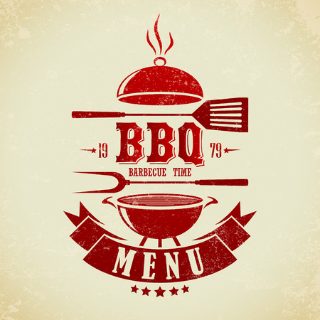 barbecue fire: The vector image of  Vintage BBQ Grill Party Illustration
