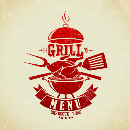 grill meat: The vector image of  Vintage BBQ Grill Party Illustration