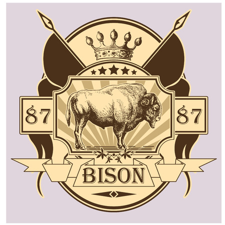The vector image of Label with the image of a bison