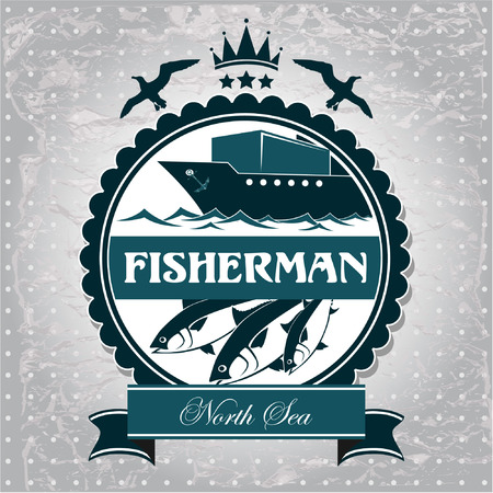 old compass: The vector image of vintage label is a symbol of Fisheries Illustration