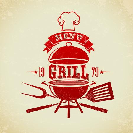 Der Vektor Bild der Weinlese BBQ-Grill-Party Illustration