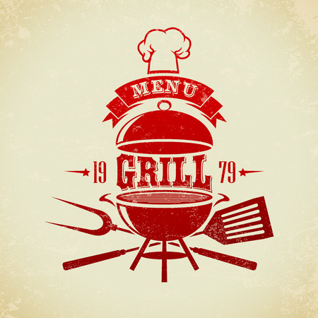 meat on grill: The vector image of  Vintage BBQ Grill Party Illustration