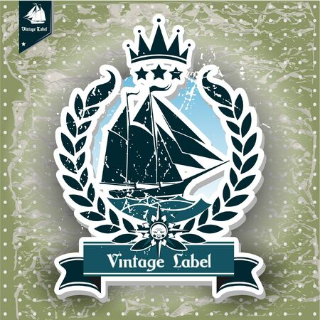 rope border: The vector image of  vintage label with maritime character