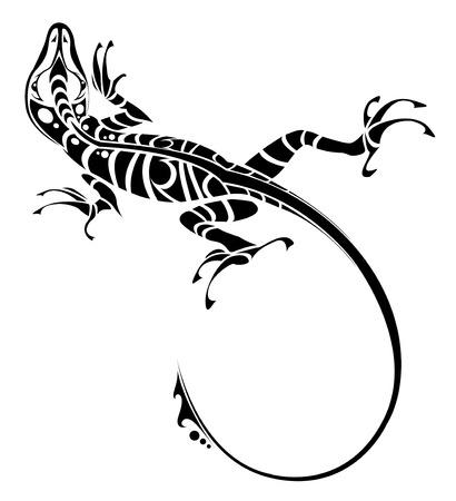 도마뱀 문신의 벡터 이미지