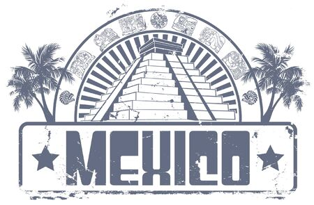 civilisation: The vector image of  Mexico stamp