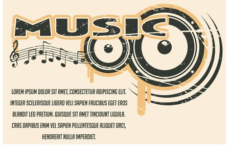 record player: The vector image of Music banner