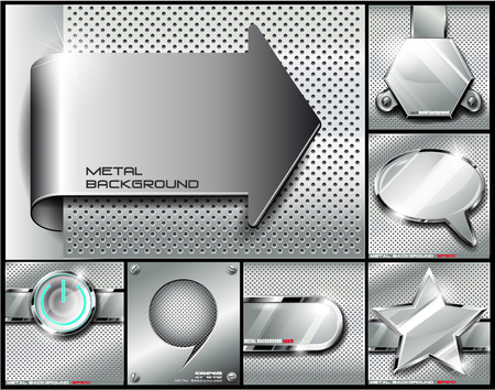 The vector image of Metal background set.Vector illustration