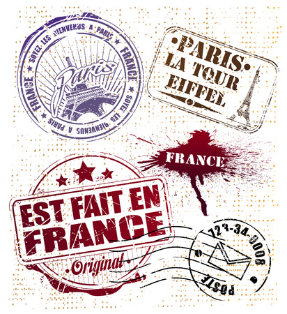 france stamp: The vector image of PARIS STAMP
