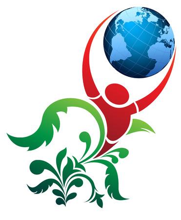 paz mundial: La imagen del vector de la gente y el mundo Vectores