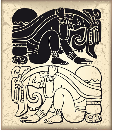 indian chief: The vector image of Ornament in style of the Maya