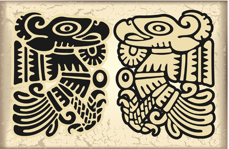 gods: The vector image of Ornament in style of the Maya