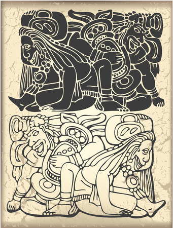 mural: The vector image of Ornament in style of the Maya