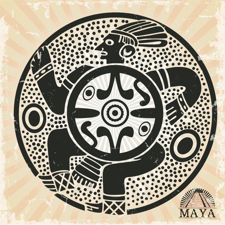 storyteller: The vector image of Ornament in style of the Maya