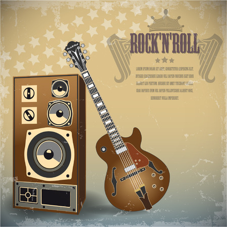 famous painting: The vector image of Retro background with electric guitar. Illustration