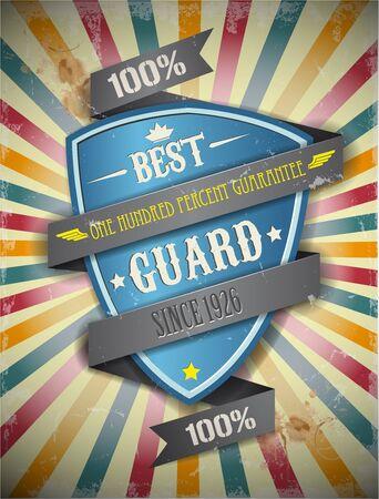 pr: The vector image of Retro background. Guard, pr Illustration