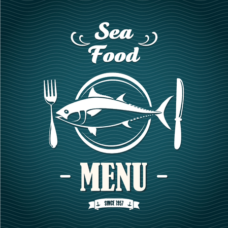 engraved image: The vector image of Sketch for a restaurant menu. Sea food.