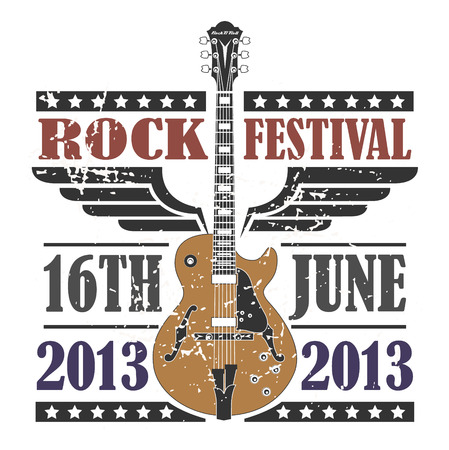 The vector image of  Rock Festival Stamp Illustration