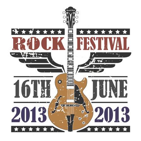 gitara: Wektor obraz Rock Festival Stamp Ilustracja