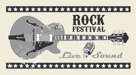 pop idol: The vector image of  Rock Festival Stamp Illustration