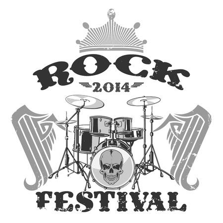 guy playing guitar: The vector image of  Rock Festival Stamp Illustration