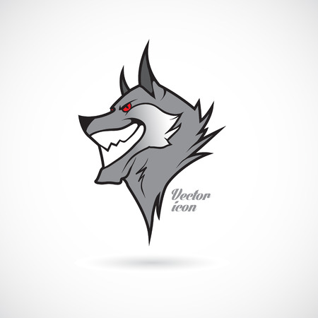 grey wolf: The vector image of Icon with a wolfs head.