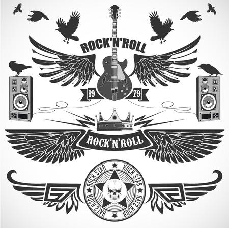 guitarra acustica: La imagen del vector de roca rodillo n conjunto de símbolos con las alas