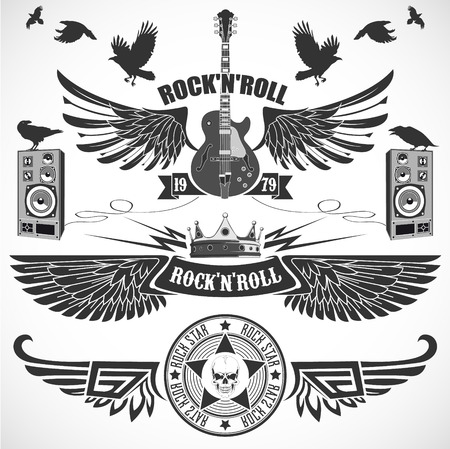 guy playing guitar: The vector image of Rock n Roll set of symbols with wings
