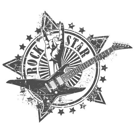 guitarra: El vector de imagen de la roca sello estrella Vectores
