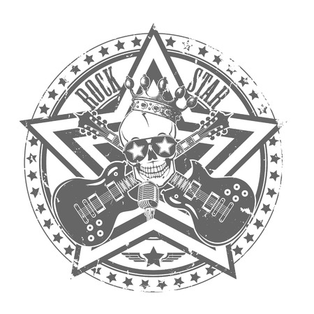 The vector image of Rock n roll stamp. Vector illustration