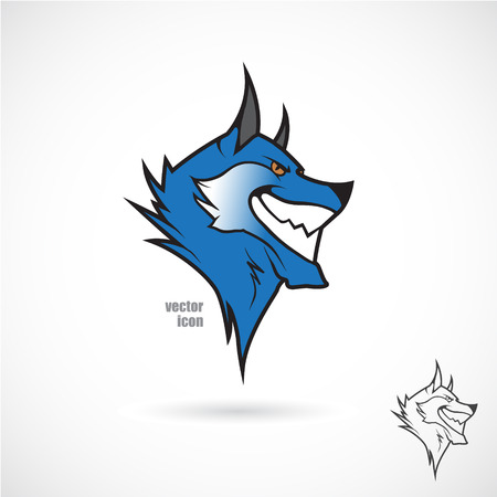 gray wolf black and white: The vector image of Icon with a wolfs head.