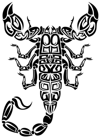sting: The vector image of a scorpion from compound contours in the form of the tattoo sketch Illustration